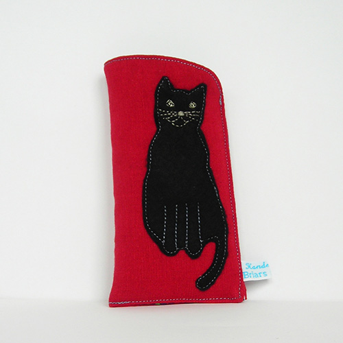 Red Glasses Case with Black Cat
