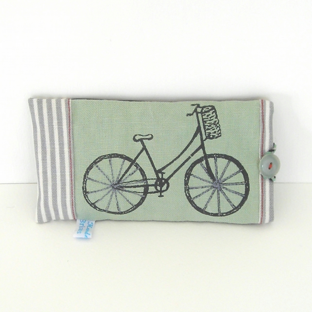 Sage Green Hand Printed Bicycle Glasses Case