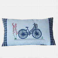Bicycle Cushion Cover in Pale Blue