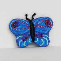 Blue Butterfly Fabric Beaded Brooch