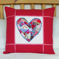 Red Cushion Cover with Heart Crazy Patchwork Design
