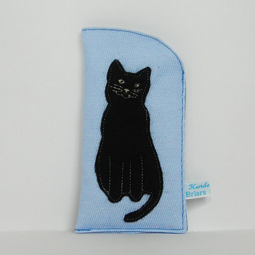 Black Cat Glasses Case in Light Blue