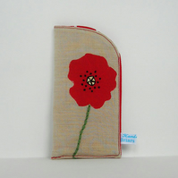 Poppy Glasses Case in Beige