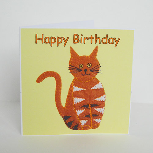 Stripy Cat Birthday Card