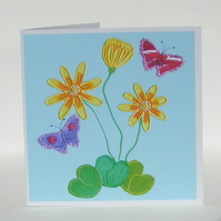 Celandine and Butterfly Greetings Card