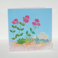 Seaside Flowers Recycled Eco Friendly Greetings Card