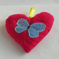 SALE - Hand embroidered red heart lavender bag