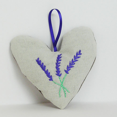 Embroidered Heart Shaped Lavender Bag