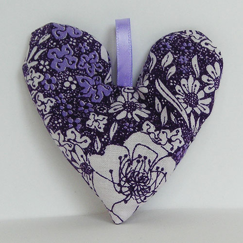 Sale, Set of 2 Lavender Bags, Purple, Floral, Heart shaped