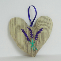 Set of 2 Lavender Bags - Embroidered, Heart shaped