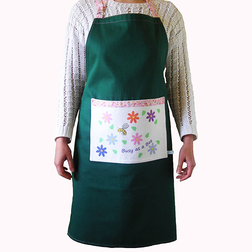 Busy as a Bee Apron in Dark Green