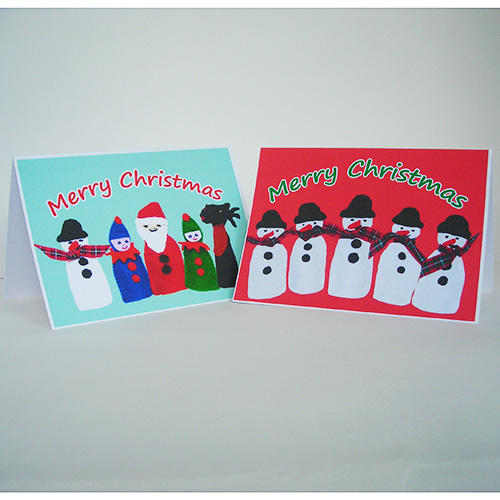 Pack of 4 Christmas Cards - Christmas Finger Puppets