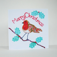 Patchwork Robin Christmas Card