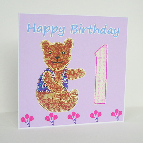 Teddy Bear Birthday Card - First Birthday