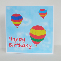 Hot Air Balloons Birthday Card