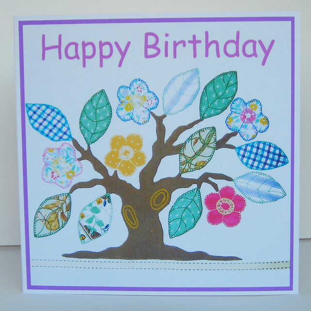 Memory Tree Birthday Card, Recycled Card