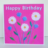 Daisy and Cornflower Birthday Card, Recycled Card