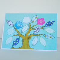 Patchwork Tree Greetings Card