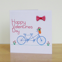 Tandem Bicycle Valentines Card With Bow