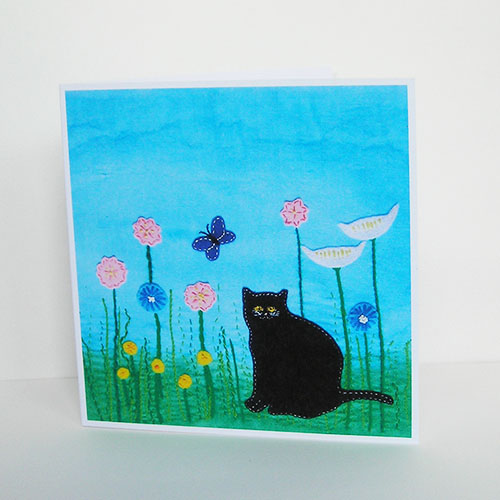 Cat in the Long Grass Greetings Card