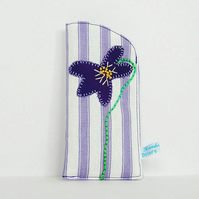 Violet Flower Glasses Case