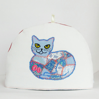 Blue Patchwork Cat Tea Cosy