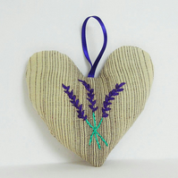 Lavender Bag Embroidered, Heart shaped