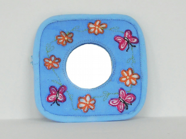 Butterfly Pocket Mirror in Pale Blue
