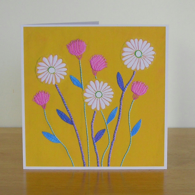 Golden Meadow Daisy Greetings Card