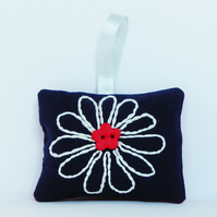 Embroidered Daisy Lavender Bag