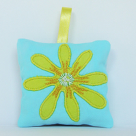 Blue Lavender Bag With Yellow Celandine Flower