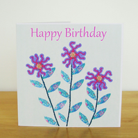 Pink Flower Birthday Card