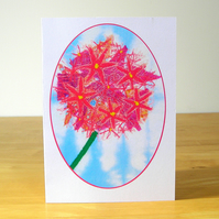 Pink Allium Flower Blank Greetings Card