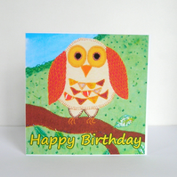 Patchwork Owl Childrens Birthday Card