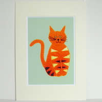 Stripey Cat Print