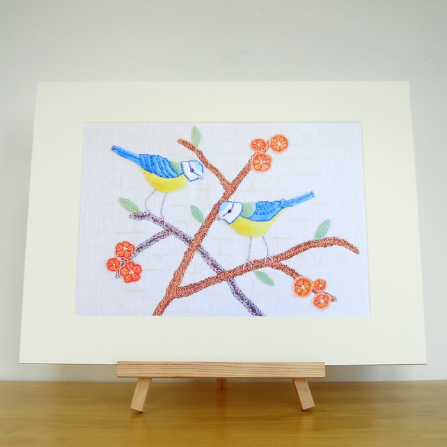 Bluetits In The Flowering Quince Print