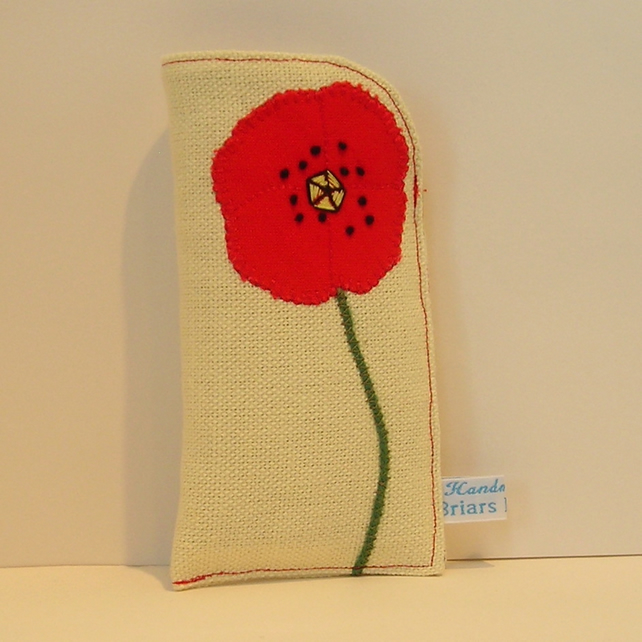 Red Poppy Cream Glasses Case