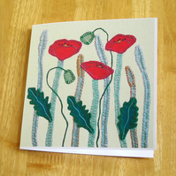 Poppy Flowers Greetings Card