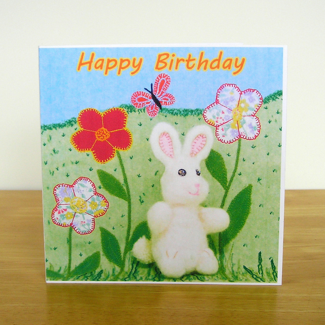 Bunny Birthday Card - Recycled Card