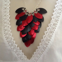 Statement Necklace, Scale Maile Necklace, Bib Necklace, Gothic Jewellery