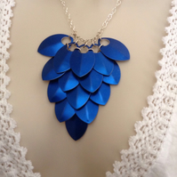 Blue Aluminium Scale Maille Bib Necklace, Bridesmaid Wedding Jewellery, Adult Co