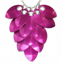 Pink Bib Necklace, Hot Pink Necklace, Scale Maille Necklace