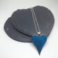Resin Heart Pendant, Blue Resin Necklace, Blue Heart Necklace, Heart Necklace