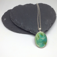 Turquoise Resin Necklace, Aqua Pendant, Green Resin Pendant, Oval Green Pendant