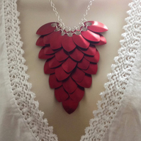 Red Bib Necklace, Scale Maille Jewellery, Goth Wedding Necklace, Party Dress Acc