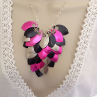 Pink and Black Necklace, Chainmaille Necklace, Colourful Statement Necklace