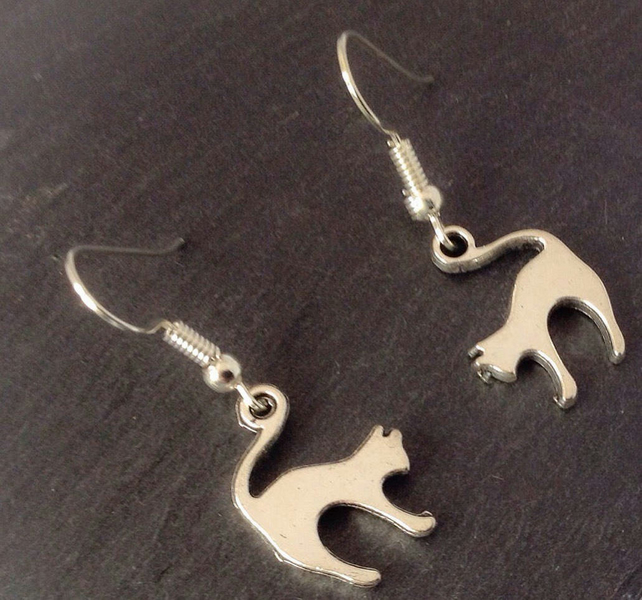 Cat Earrings, Kitty Jewelry, Feline Jewellery, Crazy Cat Lady, Cat Jewellery