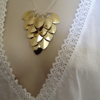 Gold Bib Necklace, Chainmaille Necklace, Scale Maille Jewellery