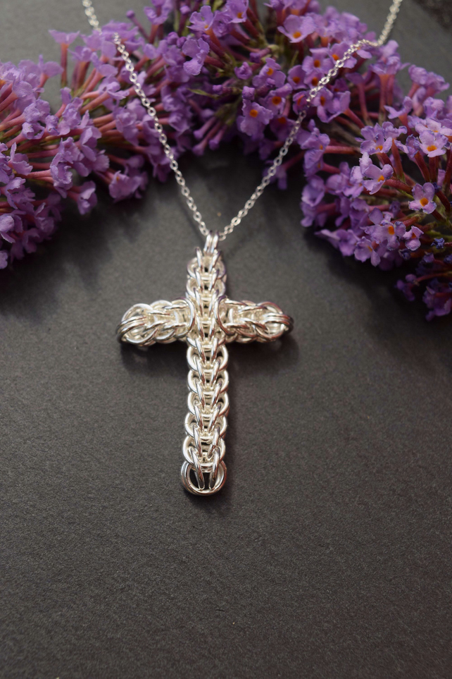 Silver Chainmaille Cross Pendant, Gift For Goth Girlfriend, Silver Cross Pendant