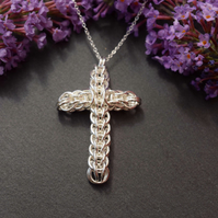 Silver Chainmaille Cross Pendant, Chainmaille Necklace, Christmas Gift For Mum